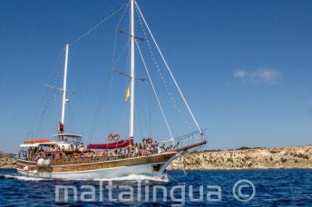 Unser Maltalingua Boot auf dem Weg nach Comino