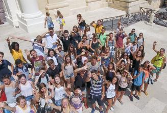 Gruppe von Sprachschülern in Valletta