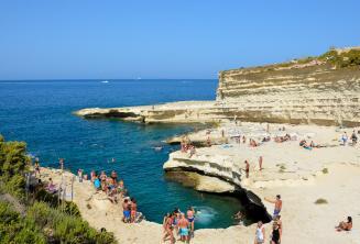 Sicht auf St Peters Pool, Malta